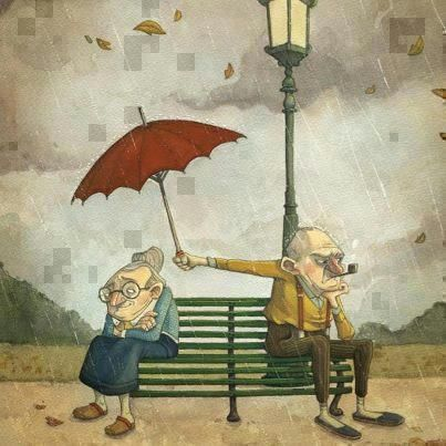 Elderly man holding umbrella for his wife